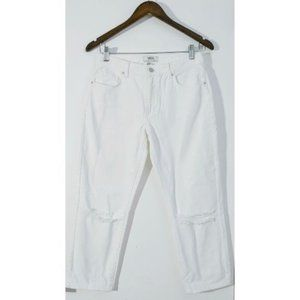 💰3/20$💰NWOT F21 white distressed cropped jeans